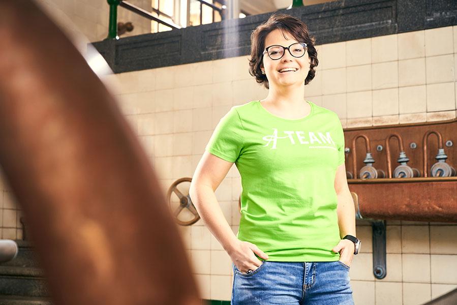 "T-Shirt grün ""We love A-Team"""
